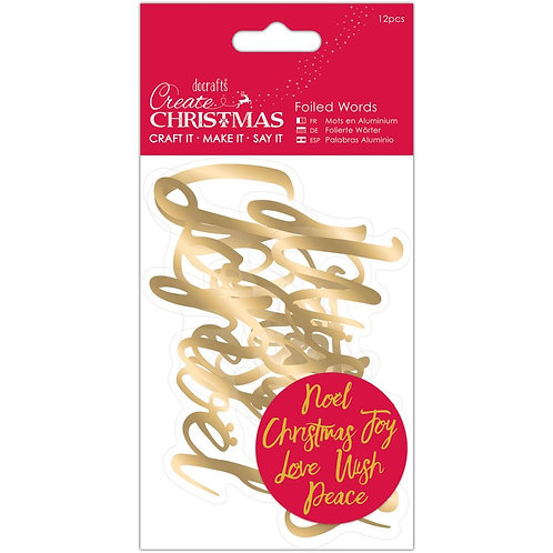 Gold Christmas Foiled Words Stickers