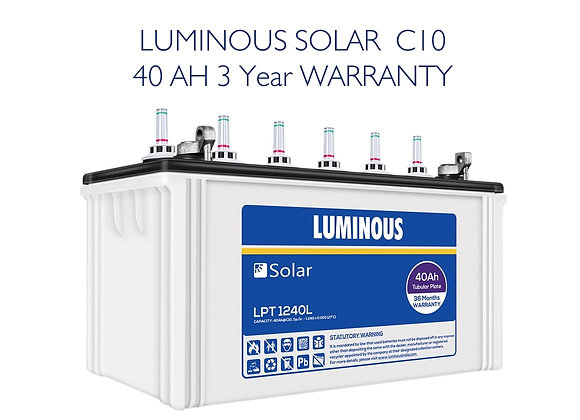 LUMINOUS C10 Solar Battery - 40AH (3 Year Warranty)
