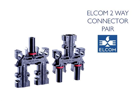 MC4 SOLAR CABLE 2 WAY CONNECTOR PAIR - UV Resistant (ELCOM)