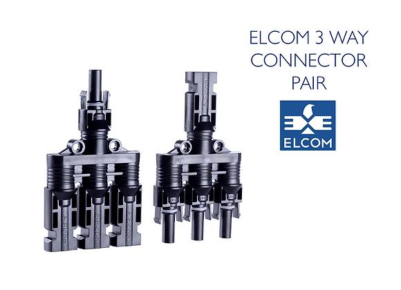 MC4 SOLAR CABLE 3 WAY CONNECTOR PAIR - UV Resistant (ELCOM)