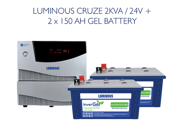 LUMINOUS CRUZE 2KVA with GEL BATTERIES ( commercial grade)