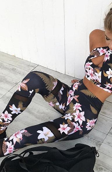 Tracksuit Set Floral Pattern, Women Sportswear