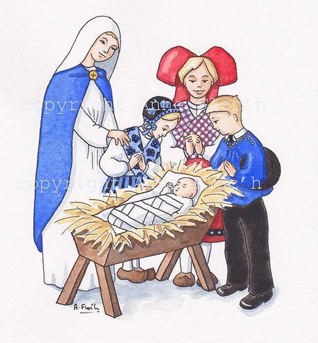 Aquarelle originale, Noël alsacien