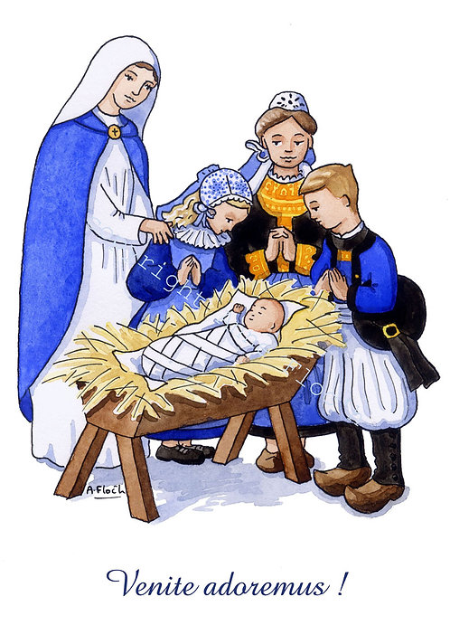 Carte double Noël breton