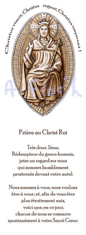 Signet Christ Roi avec prière au dos