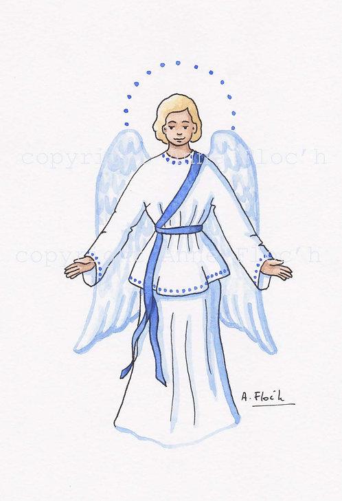 Aquarelle originale, ange gardien