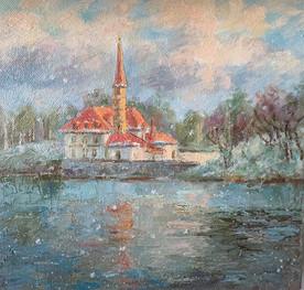 Priorat castle. Oil on canvas