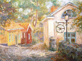 Old town. Oil on canvas