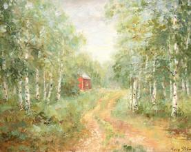 Birch alle. Oil on canvas