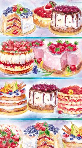 Cakes vitrin. Illustration.