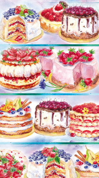 Cakes vitrin. Illustration.