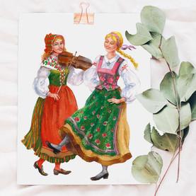 Folk dance. Illustration.