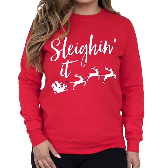 Sleighin It Christmas Crew Neck Sweatshirt