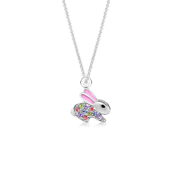 Crystal Pink Enamel Bunny Pendent