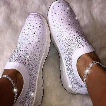 Womens Blinged Out Sock Sneakers