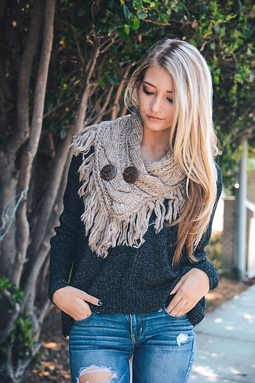Tan Infinity Scarf w/ Buttons