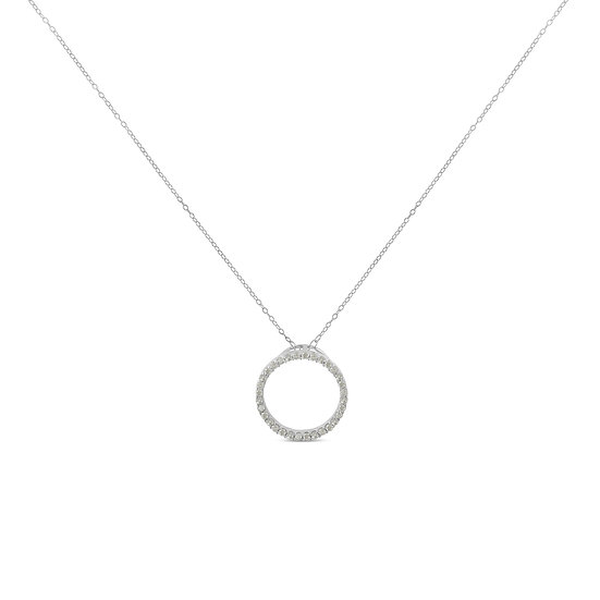 Sterling-Silver 1/3ct Diamond Hoop Circle Necklace