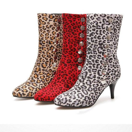 Leopard-Print Women's High Heel Boots