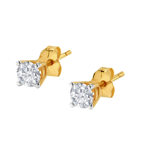 14K Yellow Gold 1/25ct  Diamond Solitaire Stud