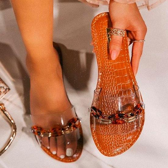Ladies Transparent Faux Leather Slides