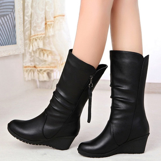 Women's Round Toe Wedge Mid Length Boots