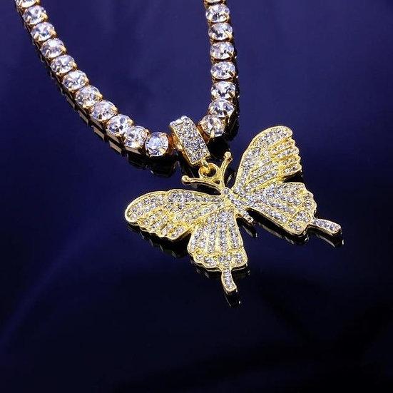 Zircon Butterfly W/ Tennis Chain Necklace
