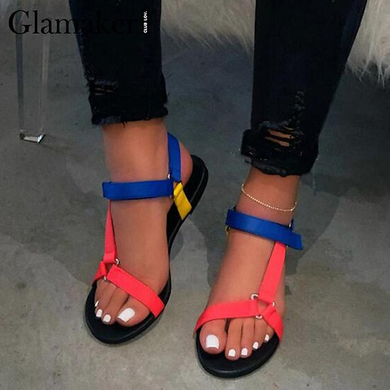 Womens Strappy  Flat Sandals