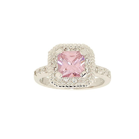 Classic Style Pink Princess Cut Ring