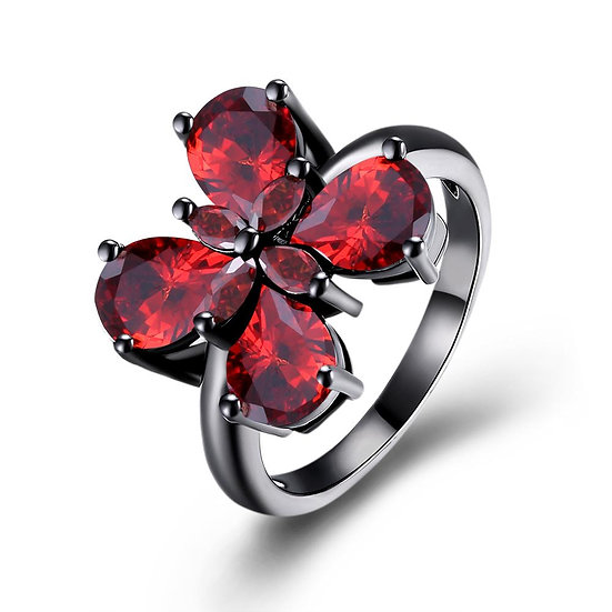 Vintage Black Plated Red Cecelia Butterfly Ring