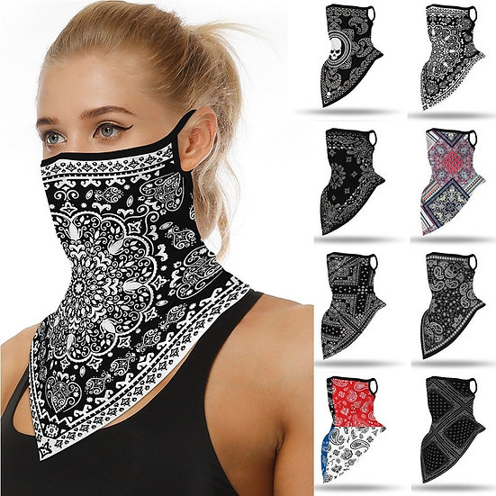 Geometric Print Seamless Face/Neck CoveW/ Loops
