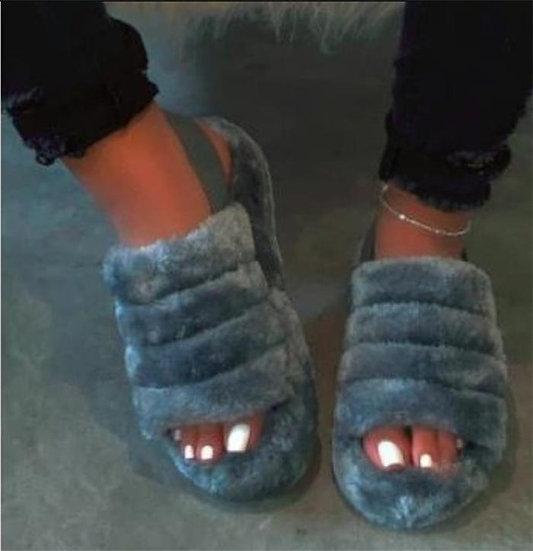 Womens faux fur Stappy Sandal