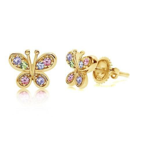 Multi Color Butterfly Screwback Earrings