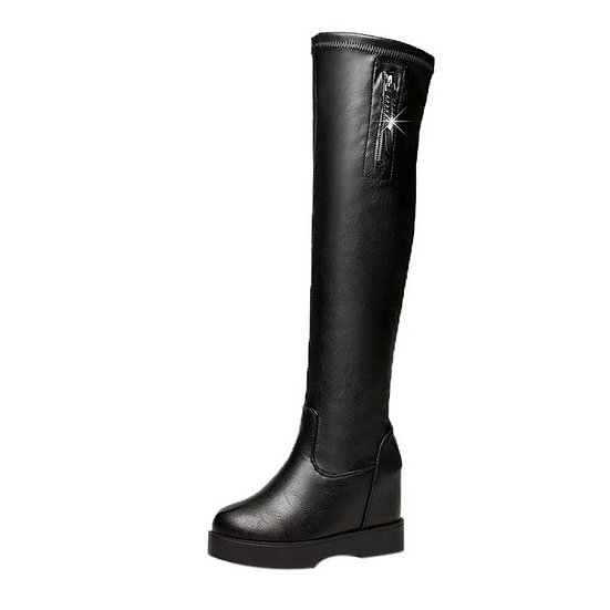 Women's Knee-high Slip on Round Toe Boots