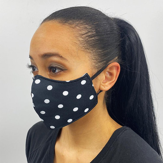 Black and White Polka Dot Face Cover
