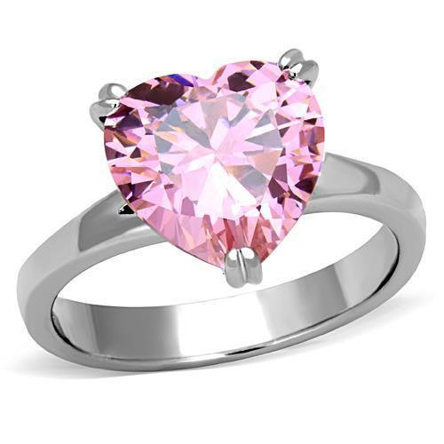 Pink Heart Stainless Steel Cubic Zirconia Ring