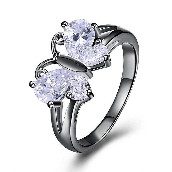 White Swarovski Elements Butterfly Ring