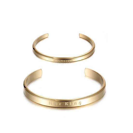 """""""His Queen"""" & """"Her King"""" Couples Cuff Set"""