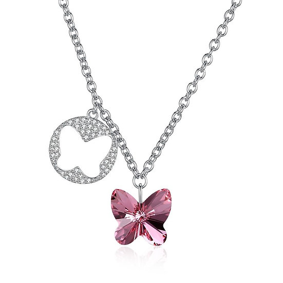 Butterfly Sterling Silver Necklace with Swarovski Crystals