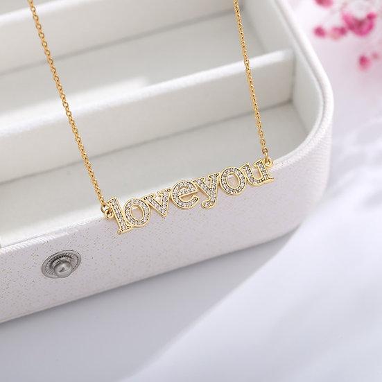 "CZ  ""Love you"" , ""Mom"" Necklace"