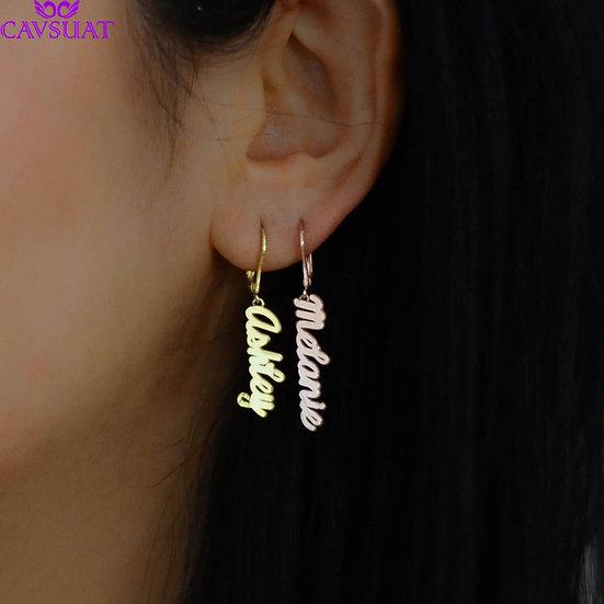 Personalized Custom Name Drop Earrings