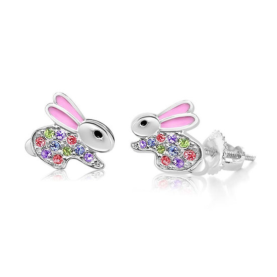 Crystal Pink Enamel Bunny Screwback Earrings