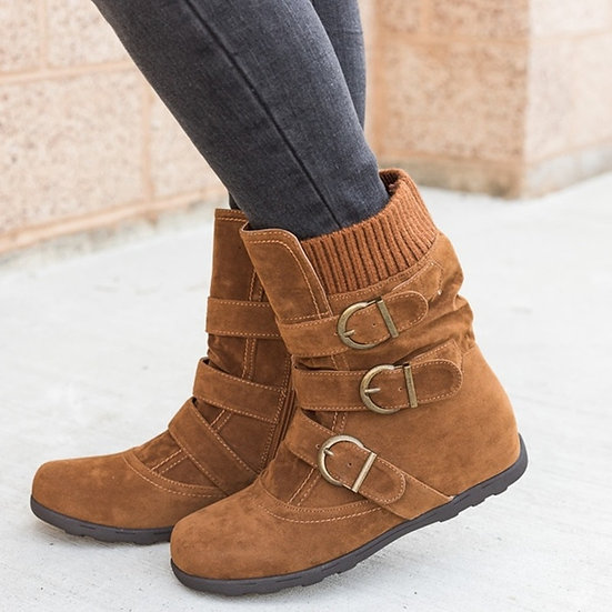 Womens Belt Buckle Ankle Boot