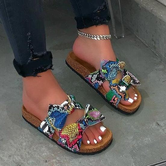 Women's Bow Cross Leopard Grain Sandals