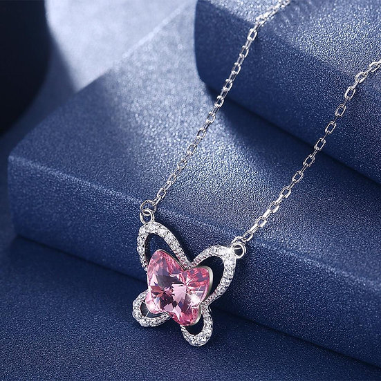 Pave Butterfly Sterling Silver Necklace