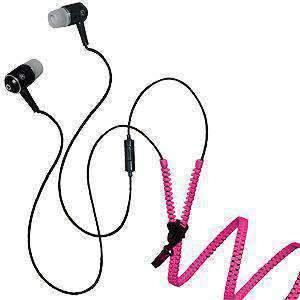 3.5mm Soft Zipper Stereo Y-Buds Handsfree Headset - Hot Pink