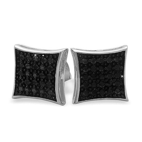 Black CZ Micro Pave Earrings