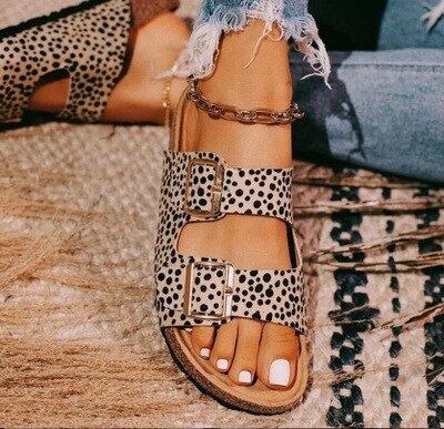 Women's  Double Buckle Leopard Eva Sandals