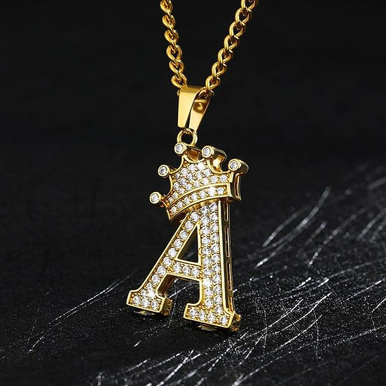 Crown Initials Chain Necklace