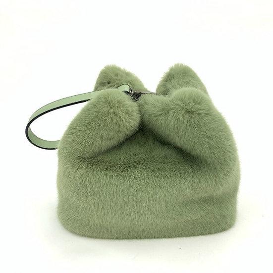 Faux Mink Fur Plush Shoulder Bucket Bag