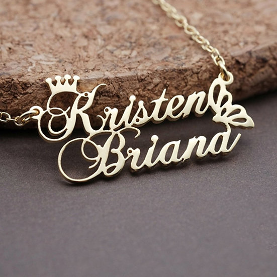 Personalized Princess Crown Double Name Necklace
